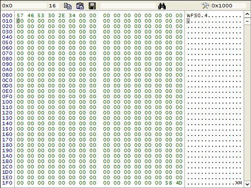 LBA 0 WFS0.4 file system